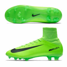 NIKE JR MERCURIAL SUPERFLY V FG FOOTBALL TRAINERS Electric Green Black