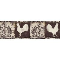 "Brewster EX80975 Camilla Damask Rooster Wallpaper Border 6""x12' Brown Chicken"