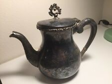 "Antique Victorian Eastlake Quadruple Silver Plate  Silverplate Teapot 7"""