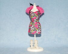 SEXY! Black Pink Yellow Red Lips Print Genuine BARBIE Sleeveless Dress w/ Boots