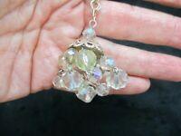 Vintage-Gold Tone 1950's Crystal Chandelier Necklace