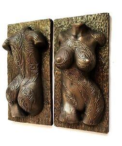 Sexy Female Nude Tattooed Torso Erotic Wall Mount Bronze Sculpture Home Decor