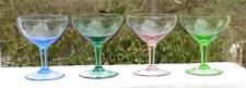 4 Vintage Various Colored Short Champange Sherbet Glasses Green Purple Blue