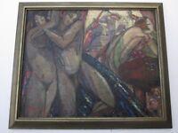 ANTIQUE 1920'S ART DECO MASTERPIECE CUBIST CUBISM FLAPPER NUDES BAR MUSICIANS