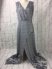 Portmans Size 14 Black And White Sleeveless Maxi dress With High Split