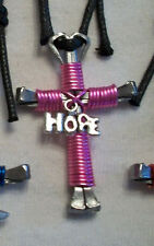 Horseshoe Nail Cross Pink Hope or Ribbon Necklace  - Breast Cancer Awareness -