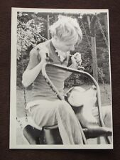YOUNG MAN SWINGING ON ANIMAL ( DEER? ) SWING Vintage 1970's  PHOTO
