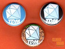 "Set of three 1"" Dan TDM pinback buttons pins The Diamond Minecart logo"