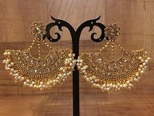 New Indian Pakistani Ethnic Bollywood Gold Plated Pearl Moti Jhumki Bali Earring