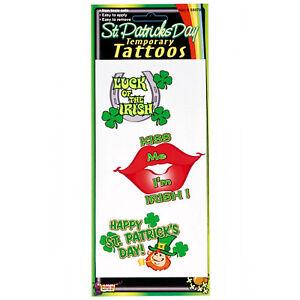 St Patrick's Day Temporary Tattoos 3 Pack Costume Accessory Irish Leprechaun