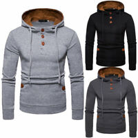 US Men's Winter Slim Hoodie Warm Hooded Sweatshirt Coat Jacket Outwear Sweater