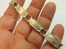 Vtg Egyptian Sterling Silver Cartouche Scarab LInk Bracelet Egypt Isis Beetle