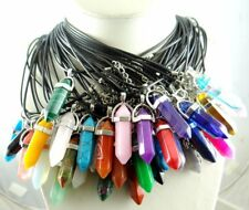 Natural Mix agate Gem Hexagonal Pointed Reiki Chakra Pendant Leather Necklace