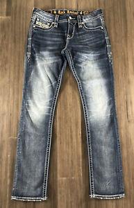ROCK REVIVAL Women's Peri Easy Straight Cotton Blend Denim Blue Jeans-Size 28