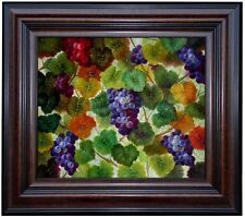Framed, Grapes on Vine and Colorful Leaves, Hand Painted Oil Painting 20x24in