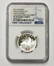 2016 Canada $1 Rio Olympics Lucky Loonie PF70 UC Colorized First Releases