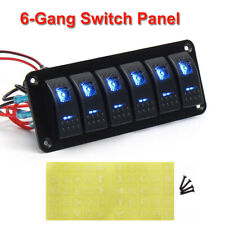 6 Gang Blue LED Toggle Switch Panel Circuit Breaker Voltage For Car Boat Marine