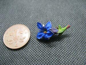 Vintage Celluloid Hand Painted Blue Alpine Flower Brooch.
