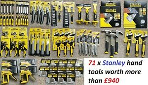71x STANLEY HAND TOOLS job lots NEW(chisel,blades,pilers,nailer,wrench)RRP: £940