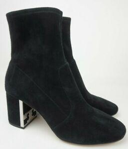 Tory Burch Gigi Logo Heel Stretch Bootie Women's Black Suede Boots Size 8.5 M