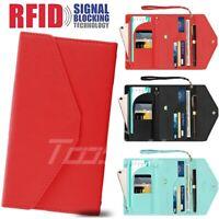 Passport Holder Travel Wallet for Women RFID Blocking Multi-purpose w/ Strap