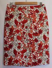 SPORTSCRAFT ~ White Red Orange Taupe Black Floral Cotton Blend Pencil Skirt 10