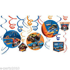 HOT WHEELS Wild Racer HANGING SWIRL DECORATIONS (12) ~ Birthday Party Supplies