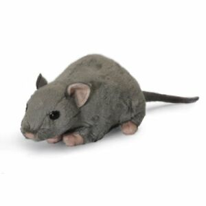LIVING NATURE 30cm GREY RAT WITH SQUEAK SOFT TOY  WITH TAG - NEW  AN348