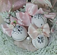 Shabby Chic Vintage Victorian Elegance Christmas Ornaments Tree Decor Blush Pink