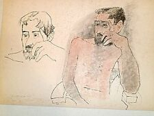 Double Portrait of Bearded Man Leaning on Elbow Crayon Drawing-1965-August Mosca