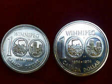 1974Canada Silver Dollar Winnipeg Centennial Commemorative and Nickel  2 Coins
