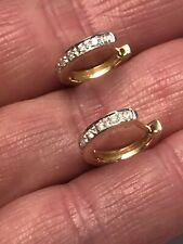 9ct Yellow Gold Diamond Half Hoop Huggie Earrings