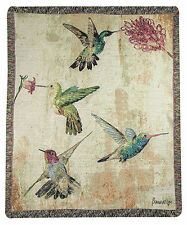 "THROWS - ""HUMMINGBIRDS IN THE GARDEN"" TAPESTRY THROW BLANKET - HUMMINGBIRD THROW"
