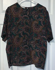 CASUAL CORNER Silk Blouse Size 14 Short Sleeve Popover Career Washable NWT