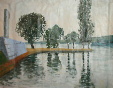 Claude Monet, Vintage impressionist oil painting lake landscape signed repro