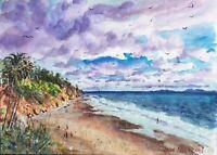 "Watercolor Original Painting Unique 11"" x 15"" Santa Barbara Beach view"