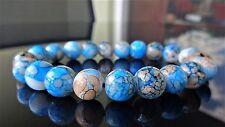 "Blue Crackled Gemstone bead bracelet for MEN Stretch AAA 10mm - 8"" inch"