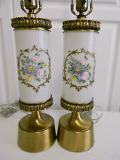 Fabulous Pr. FRENCH VINTAGE Mid Century Lamps~Hollywood Regency~Hand Painted