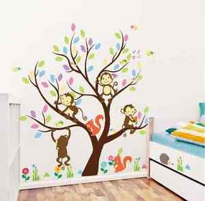 Monkey Animals Tree Mural Wall Decal Vinyl Stickers Nursery Decor Kids Gift UK