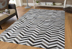 New Chevron Pattern Cowhide Home Decor Hand Made Leather hair Area Rug Carpets