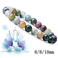 Natural Gorgeous Indian Agate Healing Crystal Stretch Beaded Bracelet 6/8/10mm
