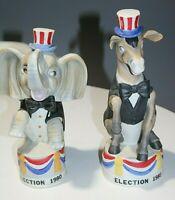 1980 Election Day Political Decanters - Donkey Elephant - Empty