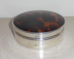 Birmingham 1922 Silver Powder Box/Compact by Adie Bros~Tortoiseshell (Faux?) Lid