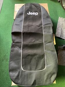 JEEP Black with White Embroidered JEEP Name Seat Cover/MOPAR Licensed Set Of 2