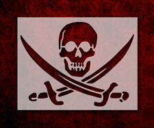 "Pirate Skull Crossed Swords Flag 11"" x 8.5"" Custom Stencil FREE SHIPPING (63)"