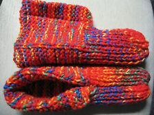 Amish Handmade Slippers Crayon Red Mix w/cuffs Mens Large Womans X Lg 10 1/4""