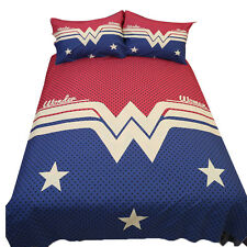 Wonder Woman Quilt Doona Covers Set Double/Queen/King Size Bedding Pillow Cases