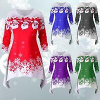 Women's Christmas Dress Long Sleeve Santa Claus Tree Snow Print Mini Dress CA