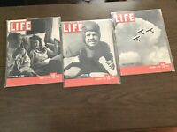 Lot Of Three Vintage Life Magazines all from 1939, In Plastic Sleeves.