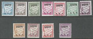 GABON :1928 Postage Due set  SG D123-33 mint hinged
